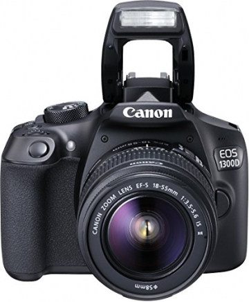 Canon EOS 1300D Digitale Spiegelreflexkamera (18 Megapixel, APS-C CMOS-Sensor, WLAN mit NFC, Full-HD) Kit inkl. EF-S 18-55mm IS Objektiv - 1