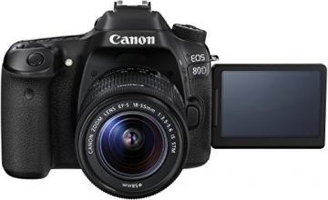 Canon EOS 80D SLR-Digitalkamera (24,2 Megapixel, 7,7 cm (3 Zoll) Display, DIGIC 6 Bildprozessor, NFC und WLAN, Full HD) Kit inkl. EF-S 18-55mm 1:3,5-5,6 IS STM, schwarz - 2