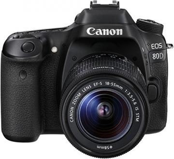 Canon EOS 80D SLR-Digitalkamera (24,2 Megapixel, 7,7 cm (3 Zoll) Display, DIGIC 6 Bildprozessor, NFC und WLAN, Full HD) Kit inkl. EF-S 18-55mm 1:3,5-5,6 IS STM, schwarz - 4