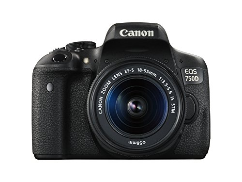 Canon EOS 750D SLR-Digitalkamera (24 Megapixel, APS-C CMOS-Sensor, WiFi, NFC, Full-HD) Kit inkl. EF-S 18-55 mm IS STM Objektiv schwarz - 1
