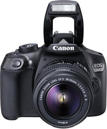 Canon EOS 1300D Digitale Spiegelreflexkamera (18 Megapixel, APS-C CMOS-Sensor, WLAN mit NFC, Full-HD) Kit inkl. EF-S 18-55mm IS Objektiv - 1